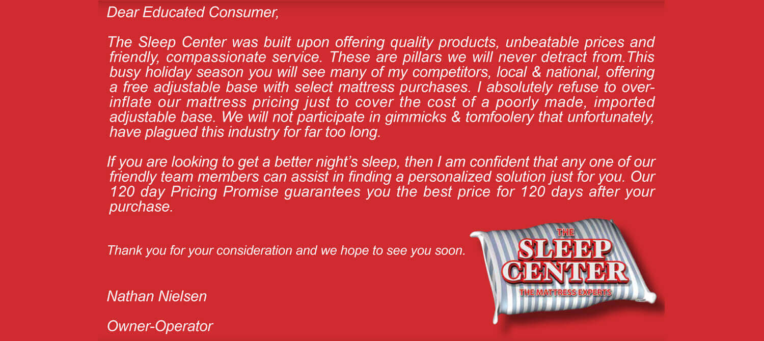 A letter to our Customers.